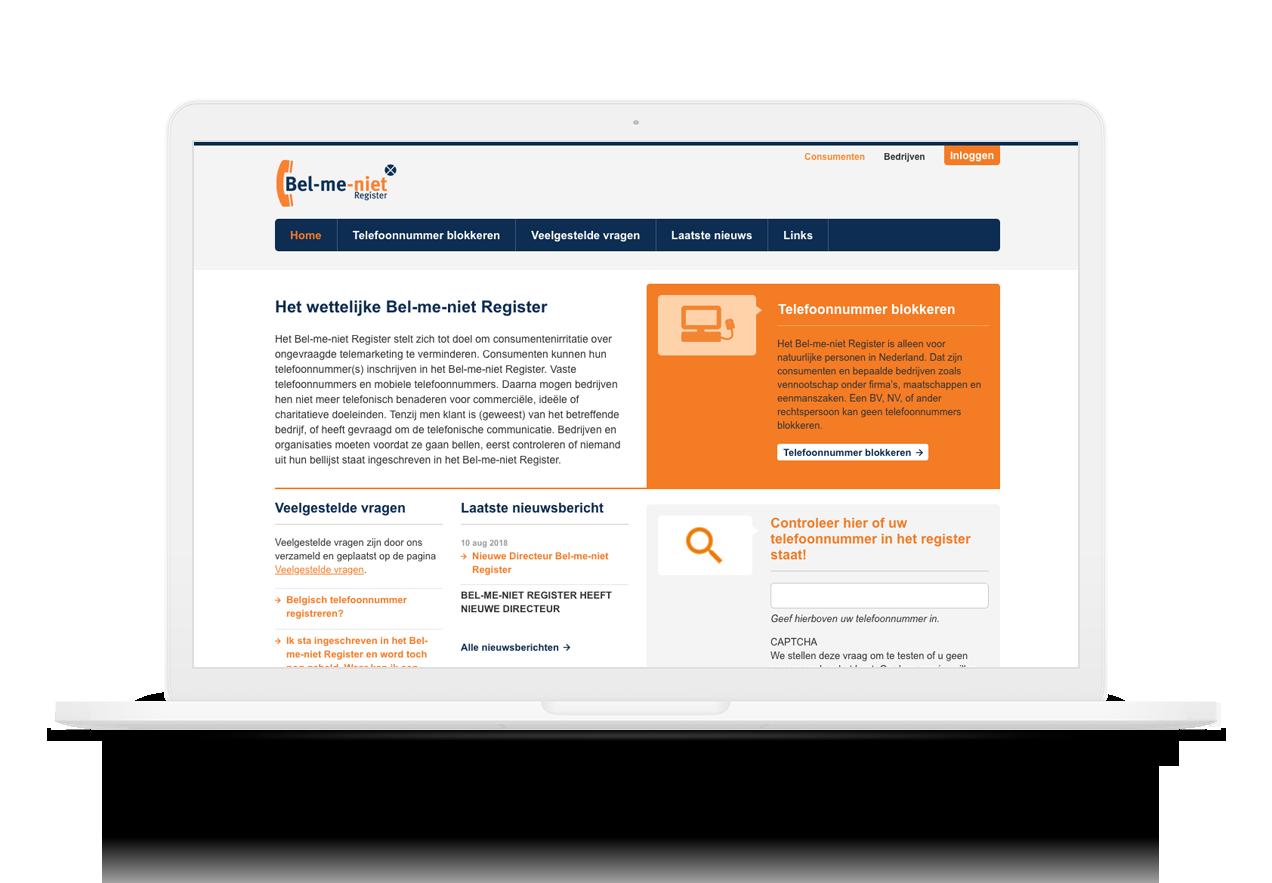 Afbeelding van de bel-me-niet-register website op een macbook