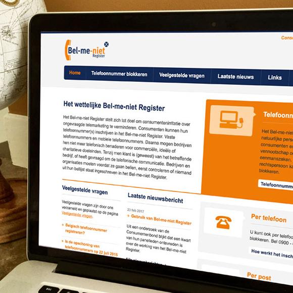 Afbeelding van de website van het Bel-me-niet-register op een laptop