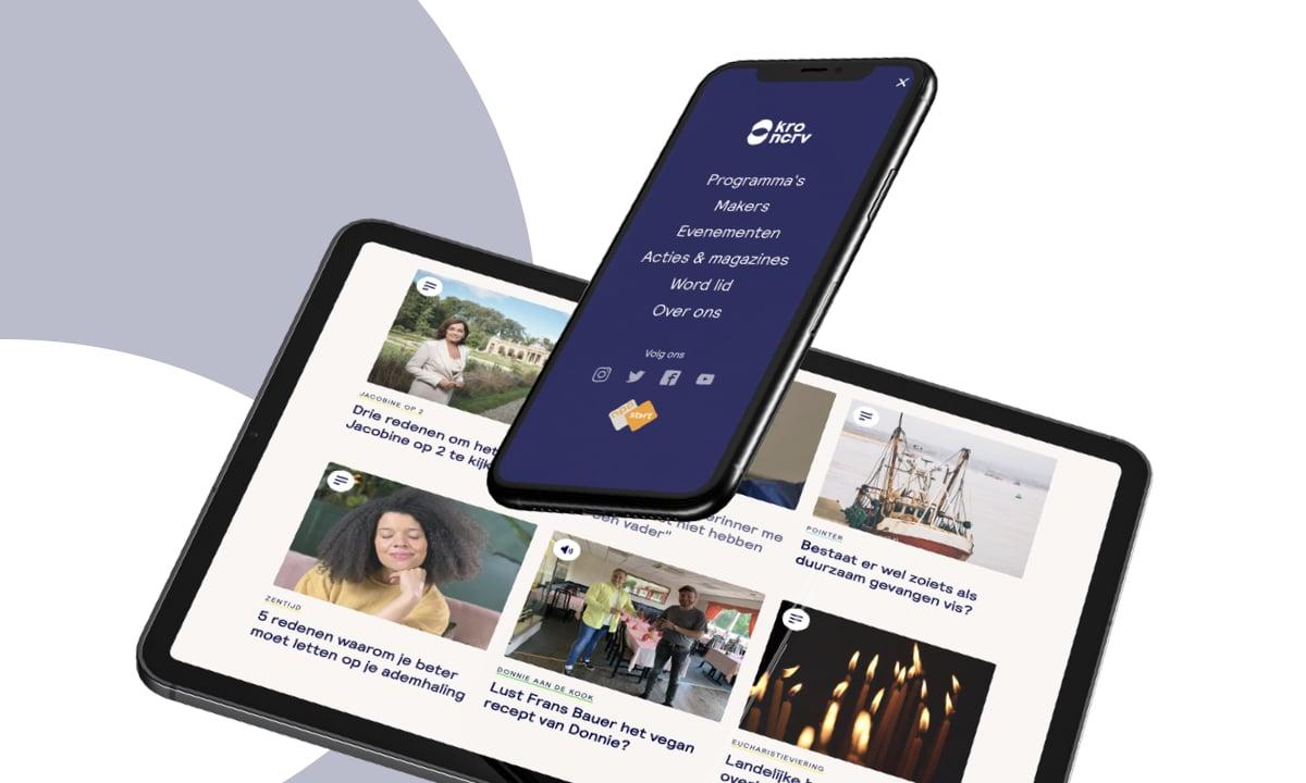 Mock-up van de KRO-NCRV website op iPhone en op iPad