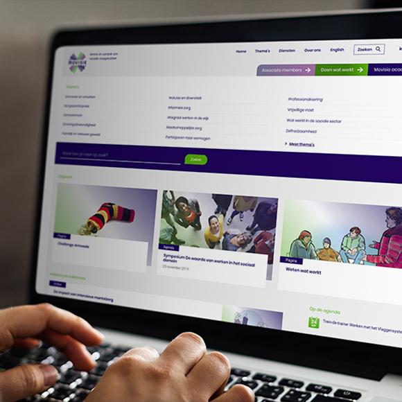 Afbeelding van de website van Movisie op een laptop