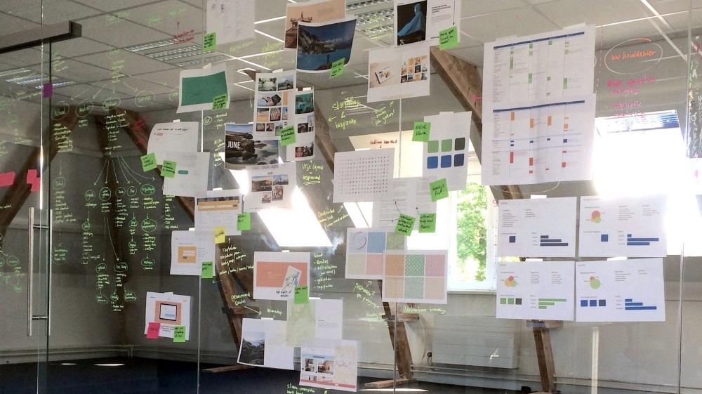 Afbeelding van een glazenwand met post-it van een brainstormsessie