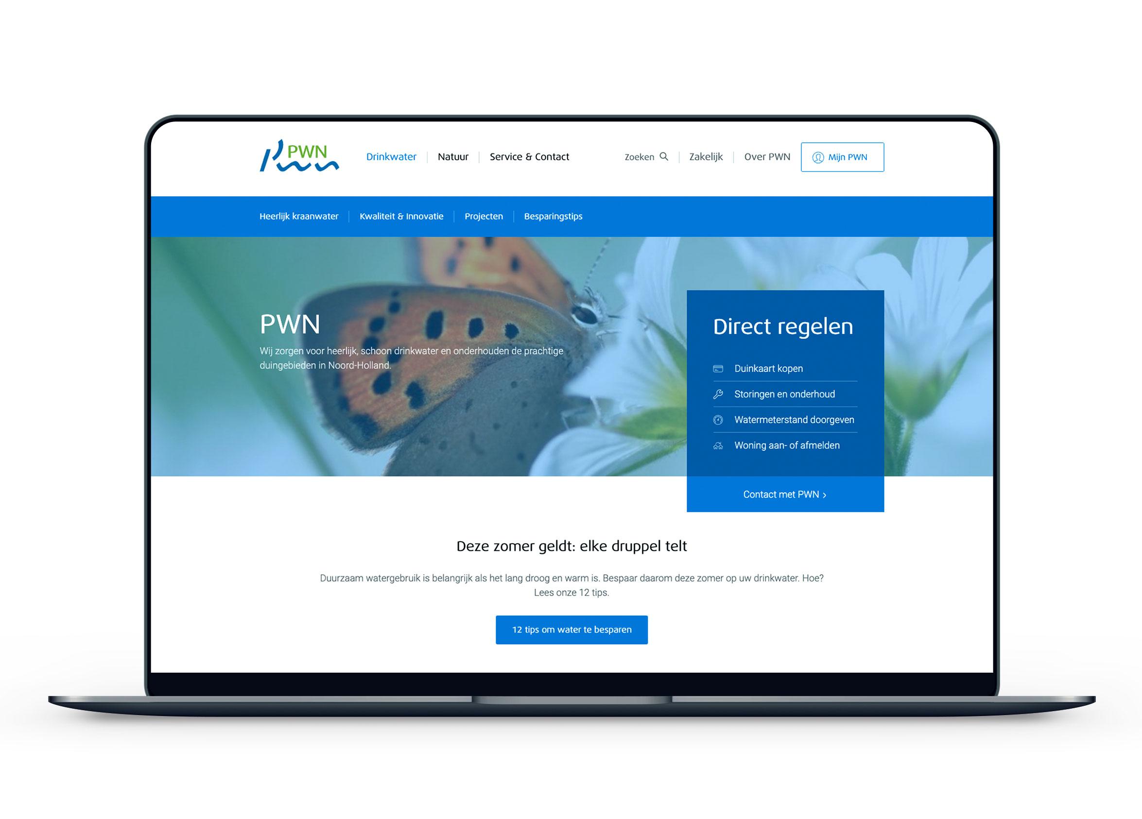 Afbeelding van de PWN website in een macbook