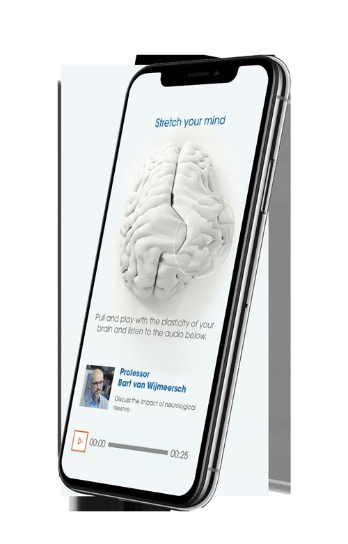 Afbeelding van een mobiele telefoon met daarop de app van Sanofi Genzyme te zien.