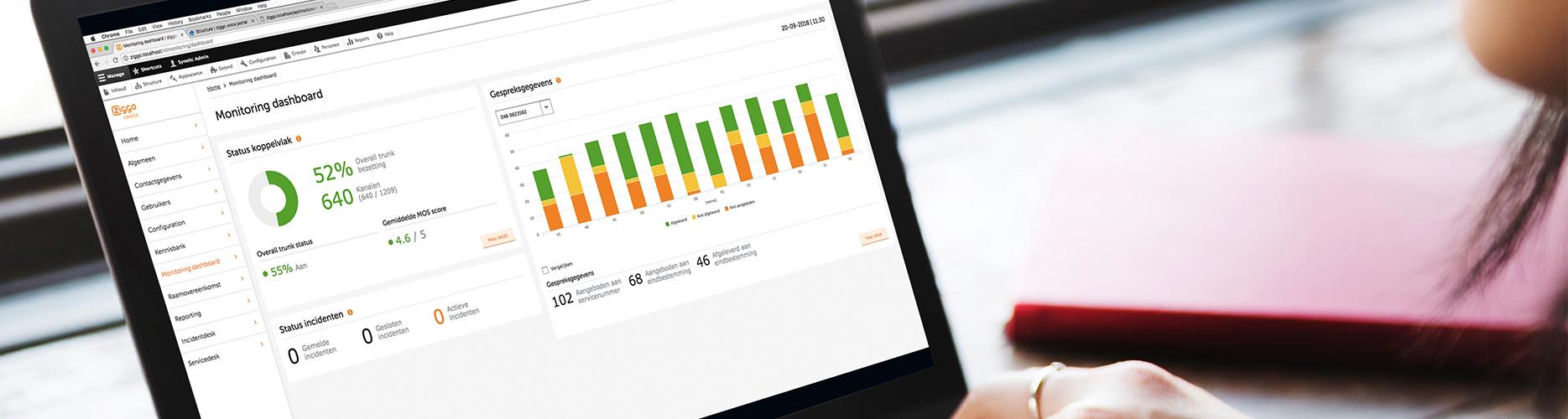 Een afbeelding van een laptop met een voorbeeld van een dashboard van ziggo met een diagram en een grafiek