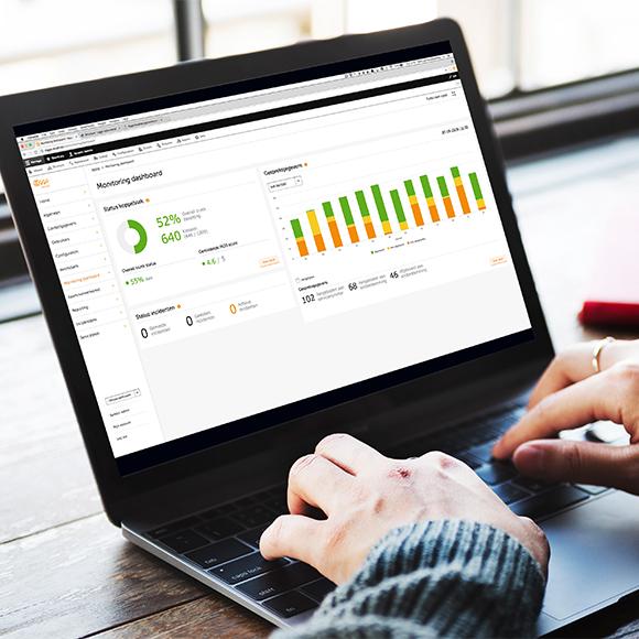 Afbeelding van Ziggo's monitoring dashboard op een laptop