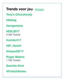Afbeelding van een trends lijst zonder duidelijke hover status