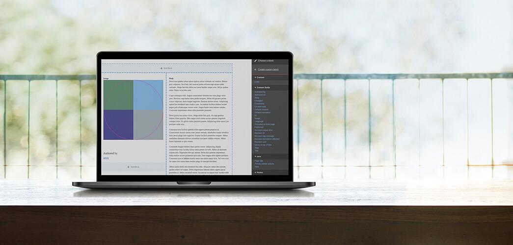Laptop met Drupal no-code layout