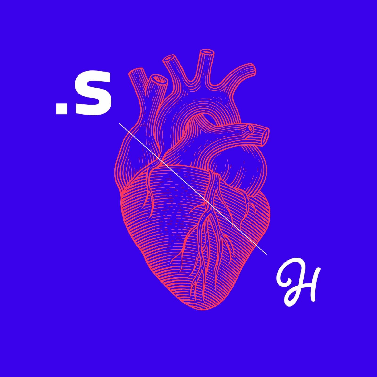 Tekening van het logo van Synetic en het logo van Henry Handsome, verbonden door een lijn met daarachter een getekend anatomisch hart